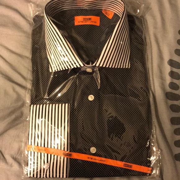 Steven Land Men/'s Casual Dress Gingham French Cuff Trim Fit Shirt Brown Orange